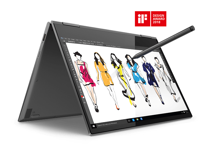 Lenovo Yoga 730 (13) in tent mode with Active Pen