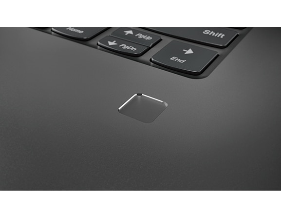 Lenovo Yoga 730 (15) laptop, fingerprint reader closeup