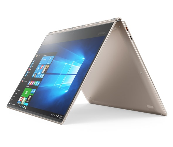 Lenovo Yoga 910-13IKB in tent mode, with Windows 10 on screen