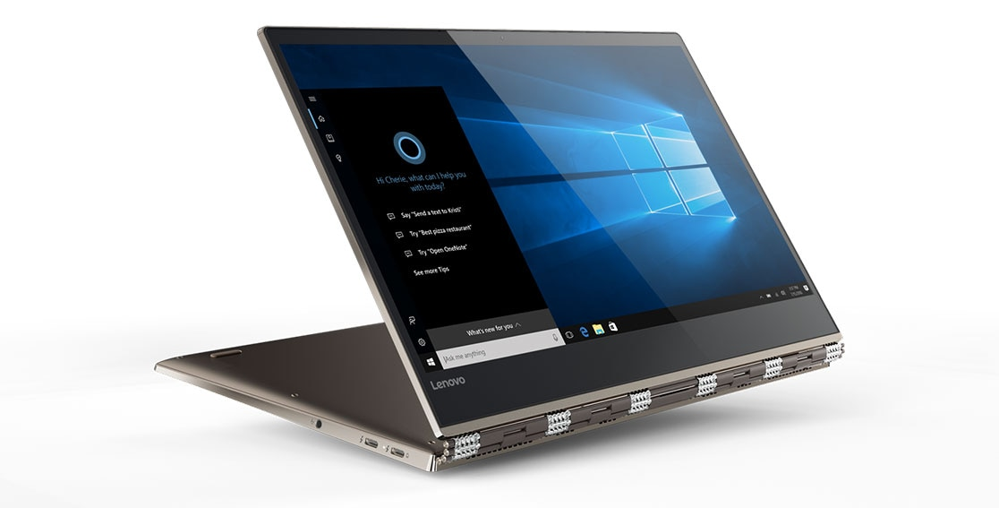 Lenovo Yoga 920 (13) in stand mode, featuring Windows 10
