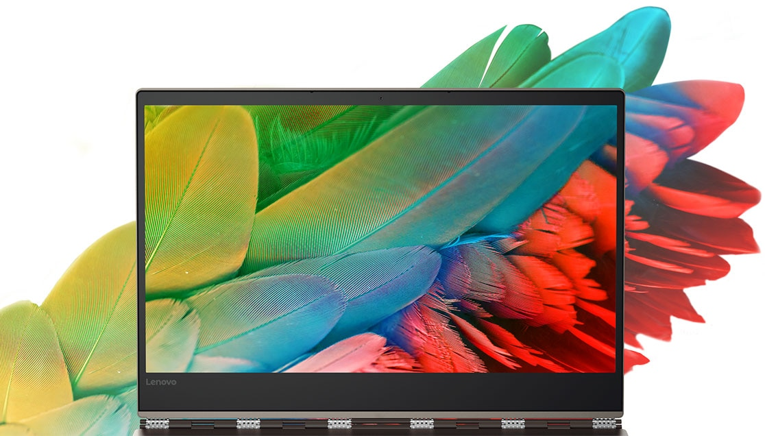 Lenovo Yoga 920 (13), vividly colored feathers on display and as background