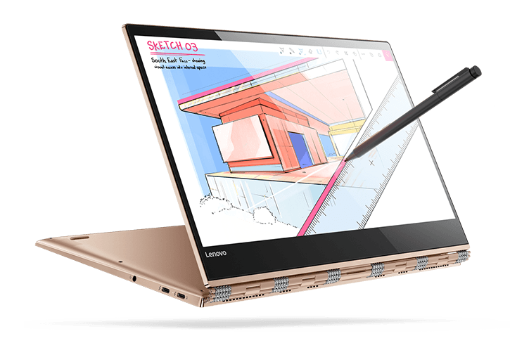 Lenovo Yoga 920 (13) in tent mode, with Active Pen 2