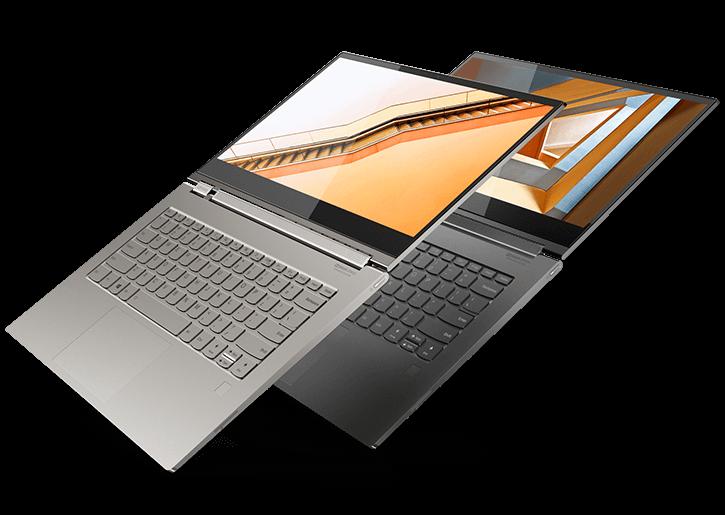 Lenovo Yoga C930 en gris minéral et mica, ouvert à 180 degrés.