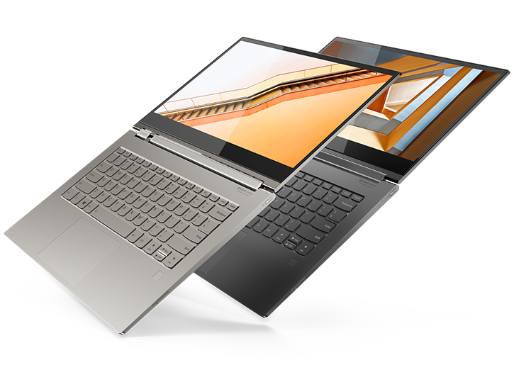 Lenovo Yoga C930 in Mineral Grey and Mica, open 180 degrees.