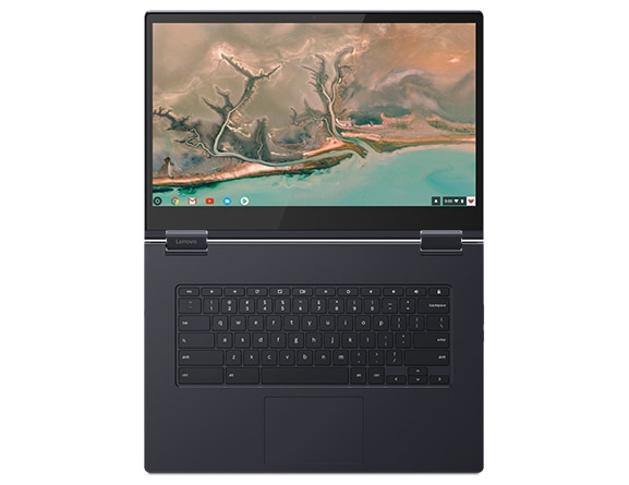 Top view of Lenovo Yoga Chromebook C630 open 180 degrees showing display and keyboard