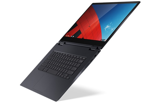 Side view of Lenovo Yoga Chromebook C630 open 180 degrees