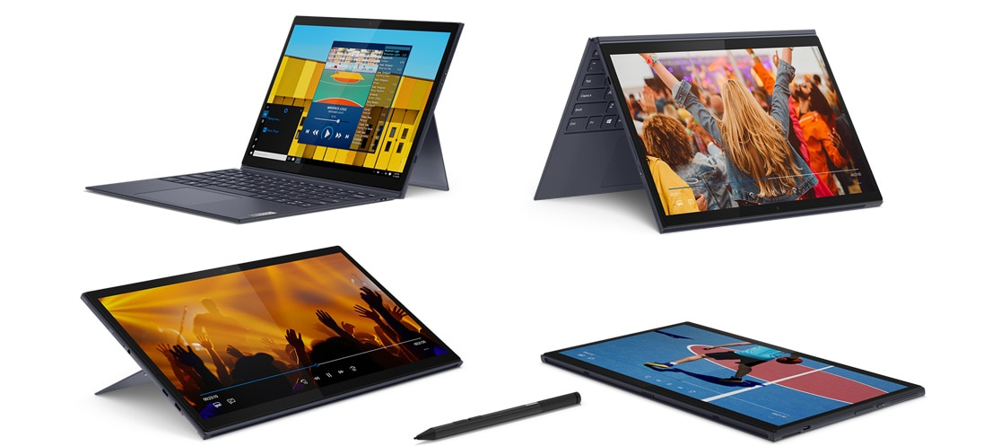 Four Yoga Duet 7i devices in laptop, stand, tent, and tablet mode, plus a Lenovo E-Color Pen