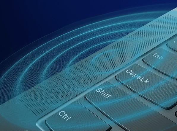 Lenovo Yoga S940 laptop, closeup of speaker