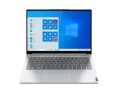 Silver Lenovo Yoga Slim 7 Pro 14 laptop front view