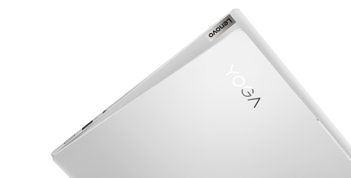 Lenovo Yoga Slim 7i Pro 14 laptop showing Lenovo and Yoga branding on corner