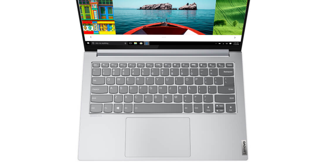 Overhead view of Lenovo Yoga Slim 7i Pro 14 silver showing keyboard and part of display