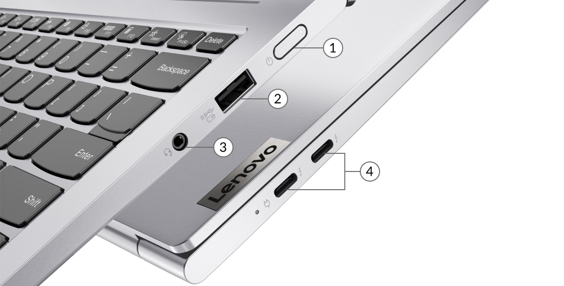 Lenovo Yoga Slim 7i Pro (14) side view showing ports including power button, USB-A, USB-C and headphone jack