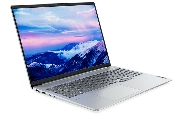 "IdeaPad 5 Pro Gen 6 (16"" AMD) Cloud Grey ¾ right front view, open with image of mountains and clouds on display"