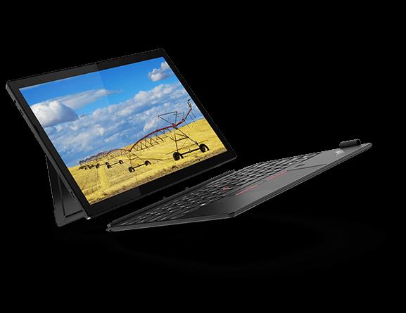 Lenovo ThinkPad X12 Detachable with optional keyboard, angled to show left-side ports and kickstand.
