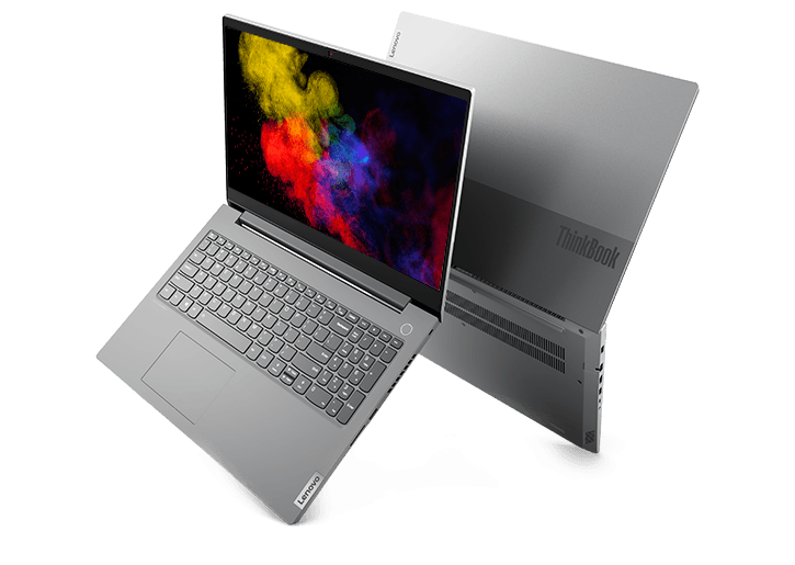Two back-to-back Lenovo ThinkBook 15p laptops in right three-quarter view