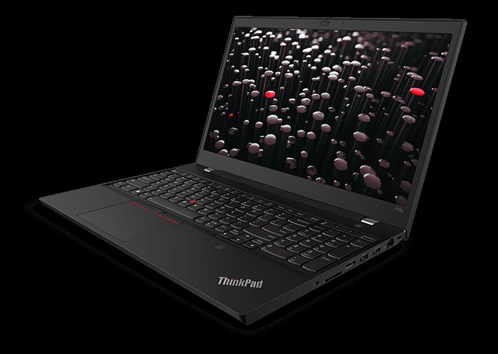 Lenovo ThinkPad P15v station de travail mobile-3/4 vue avant droite, avec affichage montrant l'image de plusieurs boutons TrackPoint gris et rouges sur les supports verticaux