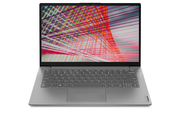 "Lenovo V14 Gen 2 (14"" AMD) laptop – front view, lid open, with colored lines on the display"