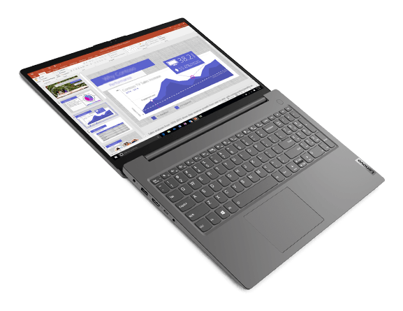 """Lenovo V15 Gen 2 (15"""" AMD) laptop – ¾ front/left view from above, lid open flat, with slide software on the display"""