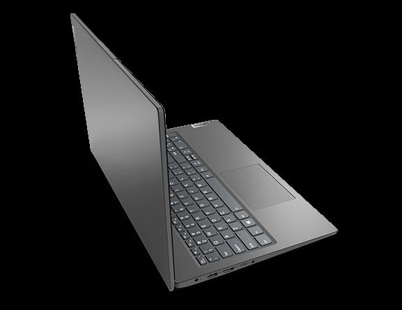 """Lenovo V15 Gen 2 (15"""" AMD) laptop – ¾ rear/left view, lid open"""