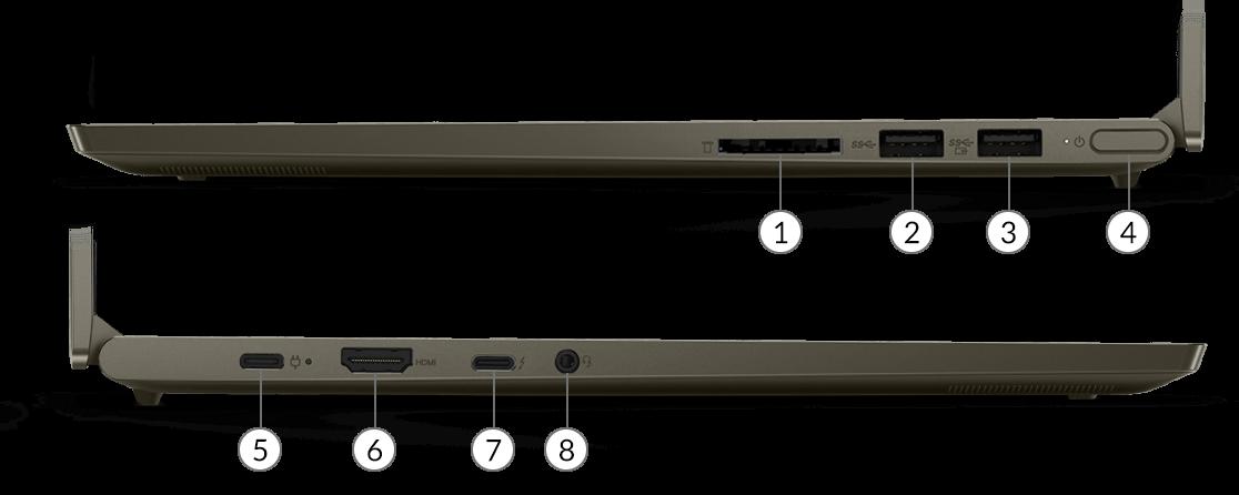Laptop Yoga Creator 7 z widocznymi portami
