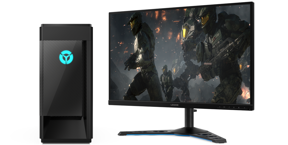 A Lenovo Legion Tower 5i, alongside a standalone monitor showing fighters in action