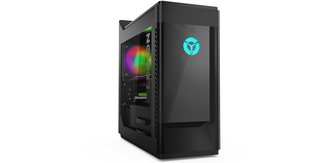 A side view of a Lenovo Legion Tower 5i, showing Legion and NVIDIA® GeForce RTX™ 270 logos