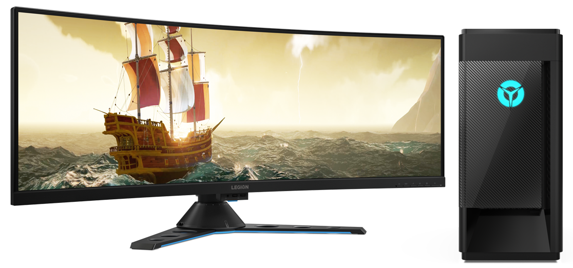 A Lenovo Legion Tower 5i with a huge curved Legion monitor,