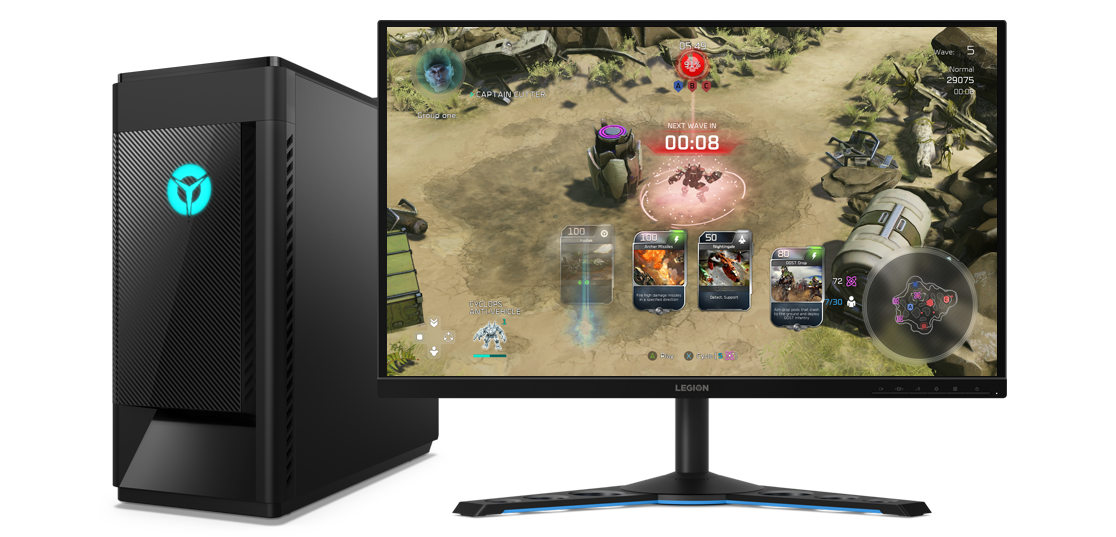 A Lenovo Legion Tower 5i and a standalone monitor, showing a battle game in action