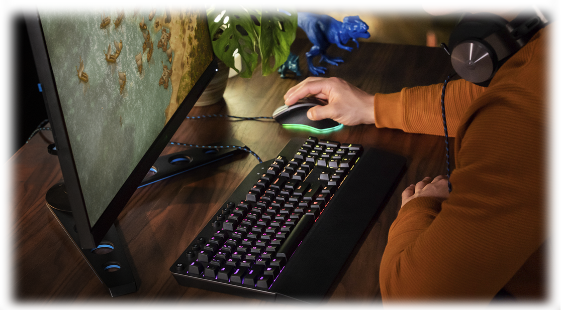 A true Lenovo Legion gamer in action - with Legion mouse, keyboard, monitor, and headphone accessories