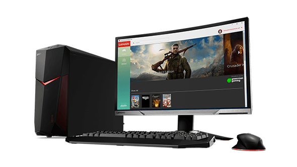 Lenovo Legion Y520 Desktop, front right side view with monitor, keyboard, and mouse