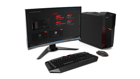 Lenovo Legion Y520 Desktop, with monitor displaying Lenovo Nerve Center interface