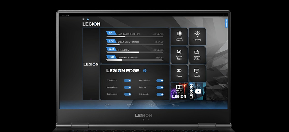 "Lenovo Legion Y740 15"" gaming laptop: Lenovo Vantage with Legion Edge"