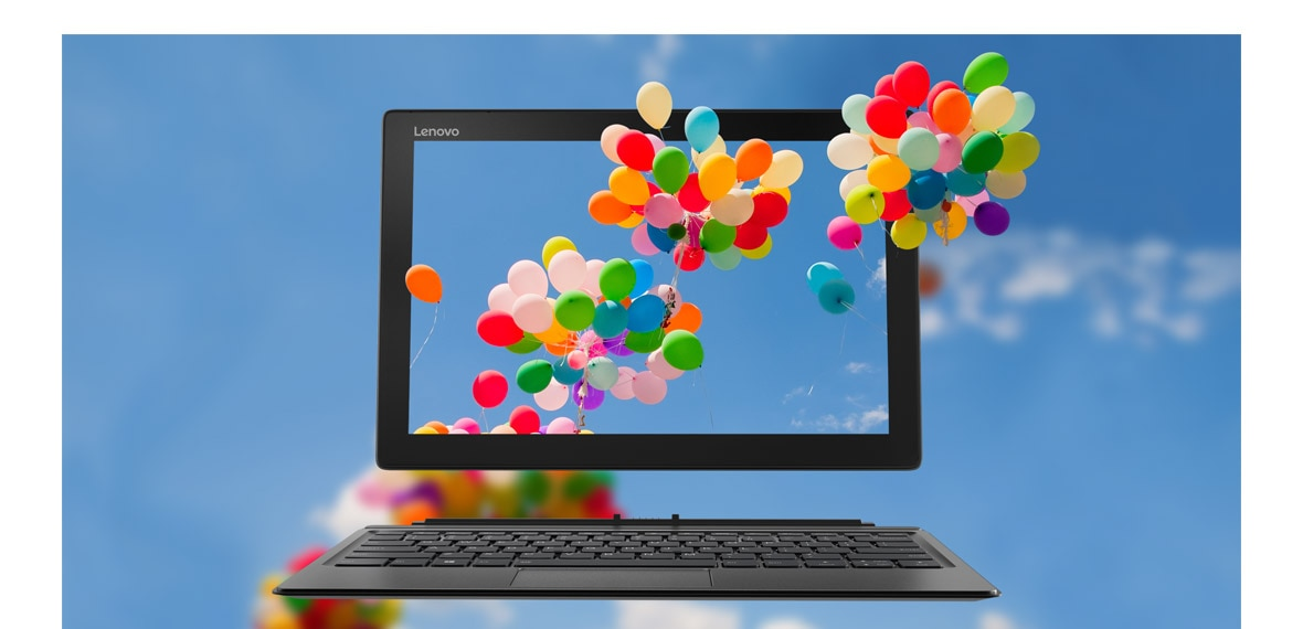 Lenovo Miix 520 2-in-1 - A animated shot showing colorful balloons floating thru' the  12