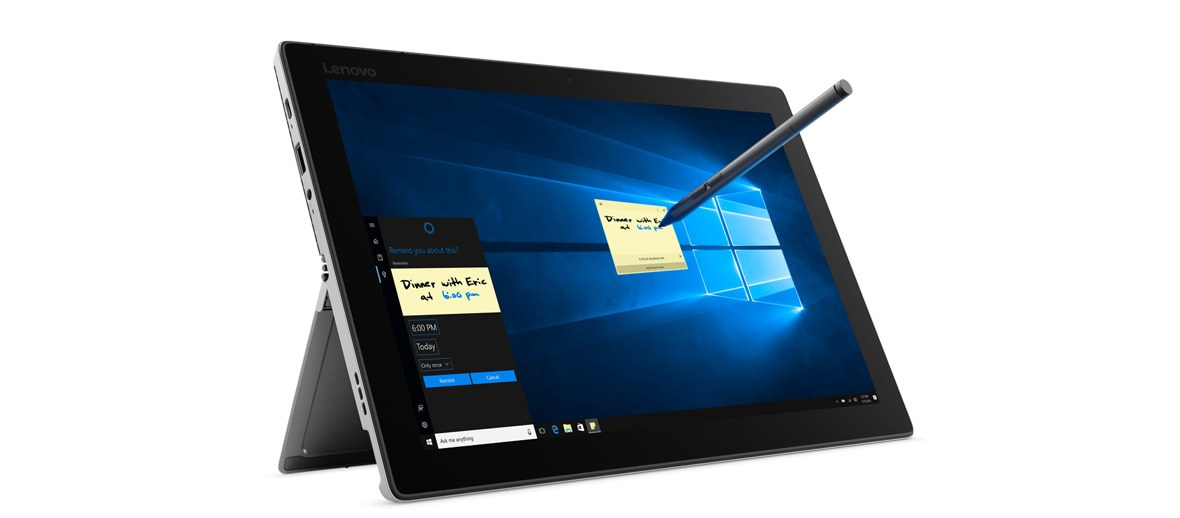 Lenovo Miix 520 2-in-1 - Side-shot of the laptop in stand mode, with Active Pen