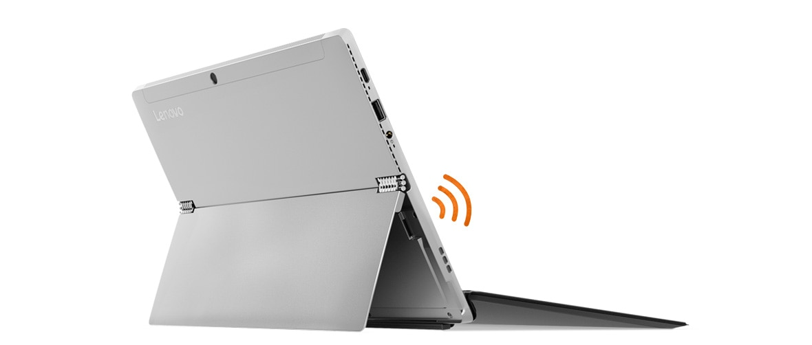 Lenovo Miix 520 2-in-1 - Shot from behind the laptop (silver color) in stand mode, with graphic WiFi icon