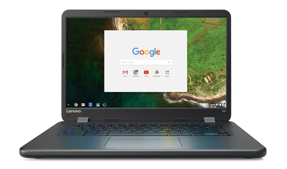 Lenovo N42 Chromebook, front view featuring Chrome OS