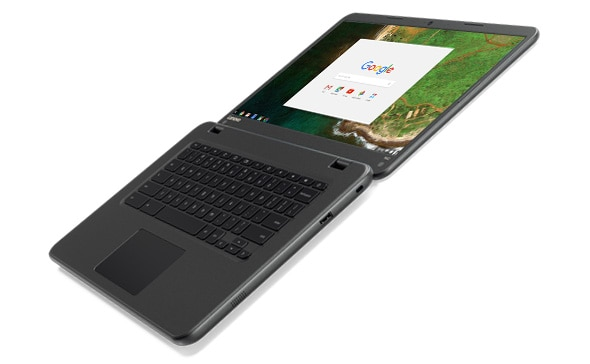 Lenovo N42 Chromebook open 180 degrees, right side angle view