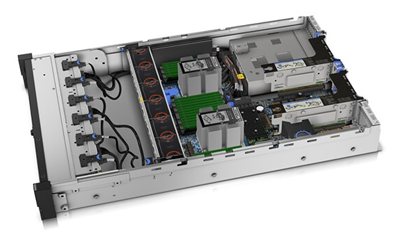 Vista interna do Lenovo ThinkSystem SR650 com processador