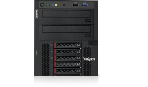 Lenovo ThinkSystem ST550 Close Up of Drives and Ports