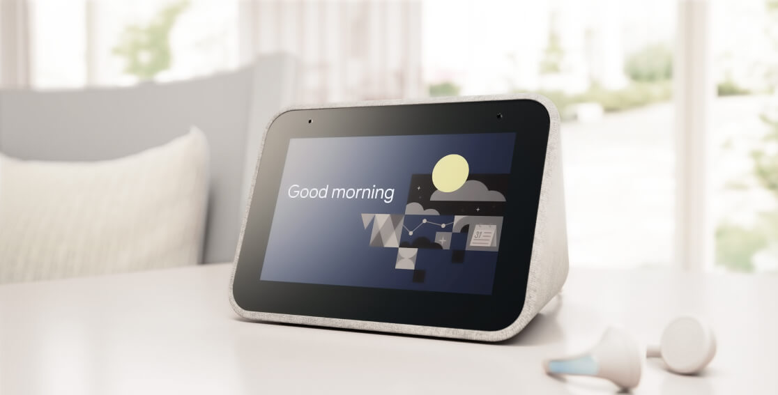 Lenovo Smart Clock with the Google Assistant, showing an activated 'Good morning' routine.