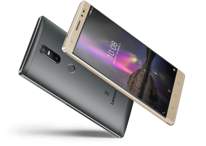 Lenovo Phab 2 Plus front and back view, Champagne Gold
