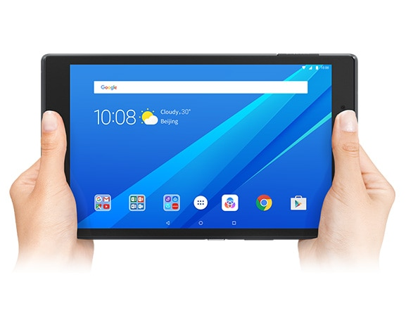 Lenovo Tab 4 8 front view held in two hands