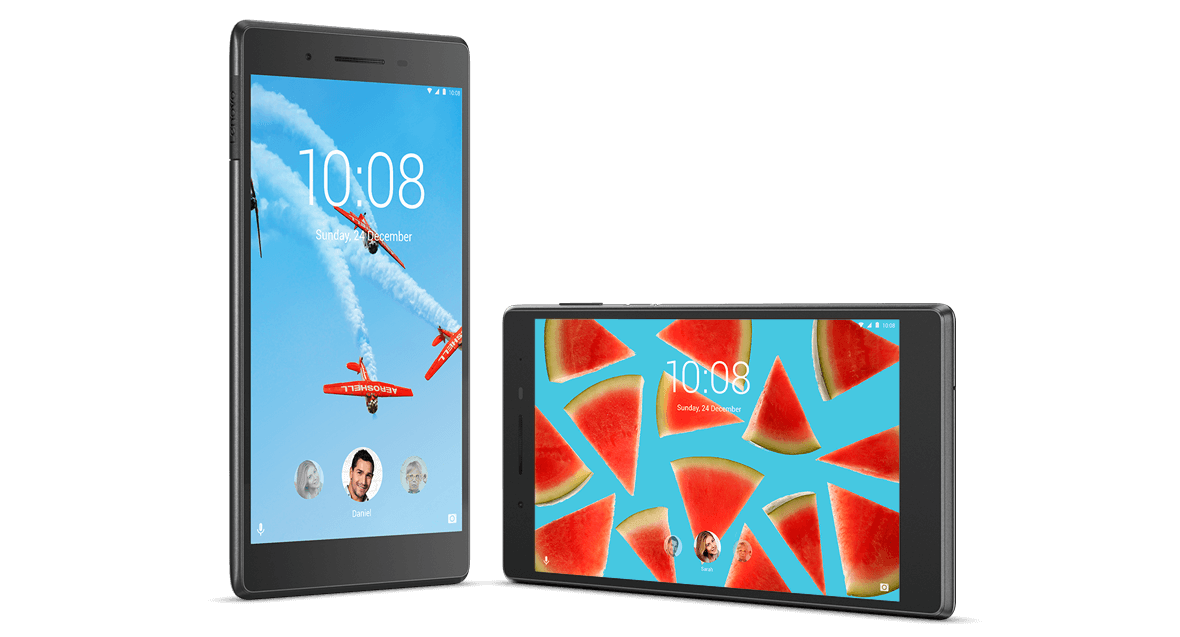 Lenovo Tab 7 upright and on its side