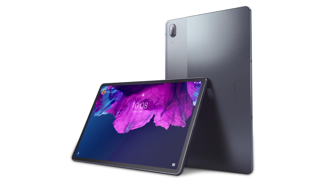 Two Lenovo Tab P11 Pro Tablet one vertical rear right three-quarter view sitting behind the other in horizontal left three-quarter view