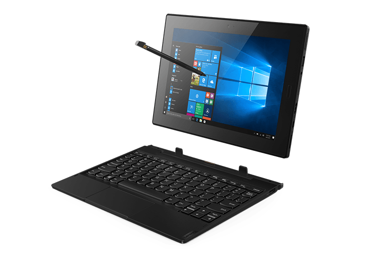 Lenovo Tablet 10 - business tablet - image of tablet with optional keyboard and Active Pen, 3/4 view from front