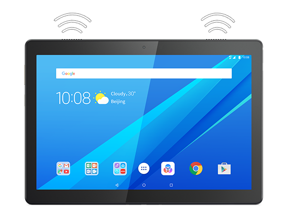 Lenovo Tab M10, front view with audio symbols