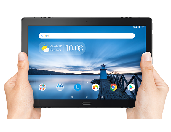 Lenovo Tab P10 being held in hand showing display screen.