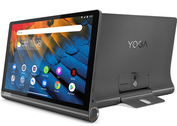 Lenovo Yoga Smart Tab with the Google Assistant, front and back views