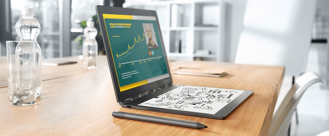 Yoga Book C930 with Real Pen showing two displays