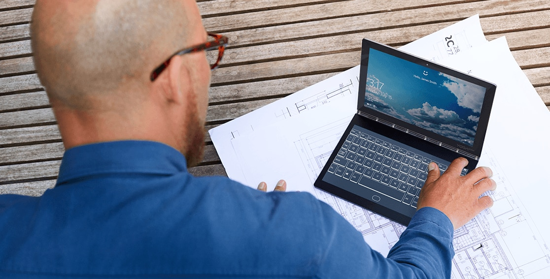 Lenovo Yoga Book C930, demonstrating one-touch login
